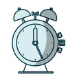 blue shading silhouette of antique alarm clock vector image
