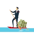 Man and Money in Boat vector image
