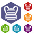 military backpack icons set vector image