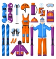 Set of snowboarding equipment icons vector image