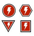 warning lightning bolt sign vector image