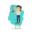Woman make repairs in the apartment vector image vector image