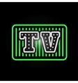 Light neon tv label vector image