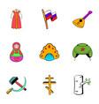 russian symbol icons set cartoon style vector image