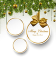 Paper round holiday labels vector image