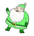 funny waving santa claus comic cartoon vector image