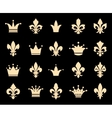 Crown and fleur de lis icons vector image