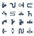 Pipes Black White Icons Set vector image vector image