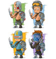 cartoon cool cyborg soldier character set vector image