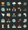 Communication icons with black background vector image