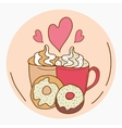 I love coffee and donuts vector image