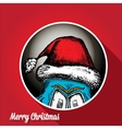 monster face character in santa red hat vector image