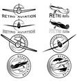 set of vintage labels retro aviaton vector image