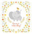 Smiling elephant on floral background vector image