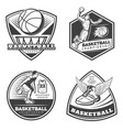 vintage basketball emblems set vector image