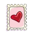 red heart postage stamp vector image