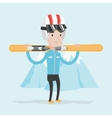 Man holding skis vector image