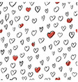 Hand Drawn Hearts Background Seamless Pattern vector image