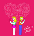 man and woman internet love concept vector image