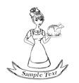 A beautiful woman waitress enjoys turkey vector image