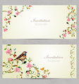 invitation cards with foliate ornament and flowers vector image vector image