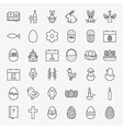 Happy Easter Line Icons Big Set vector image