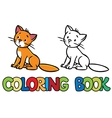 Sad sitting cat Coloring book vector image