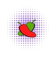 Hot chili peppers icon comics style vector image