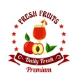 Peach fruit with juice icon for farm market design vector image