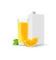 glass of orange juice and a slice of orange and a vector image