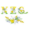 spring bright letters with daffodils and forget-me vector image