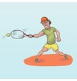 Tennis player striking a ball vector image