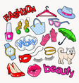 woman fashion doodle with accessories and clothes vector image