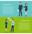 Young man and woman in elegant business suit vector image