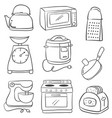 doodles of kitchen set collection vector image