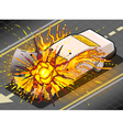 Isometric White Car in Explosion in vector image