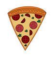 color image cartoon slice pizza of pepperoni vector image