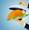 Baked chicken on a platter holding hands vector image