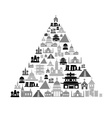world religions types of temples icons in pyramid vector image