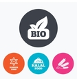 Natural Bio food icons Halal and Kosher signs vector image