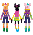 doll dog cat and pig vector image