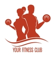 Fitness logo with muscled man and woman vector image