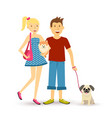 Happy young couple walking with pet dogs vector image