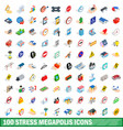 100 stress megapolis icons set isometric 3d style vector image