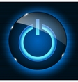 Glass power button icon on abstract background vector image vector image