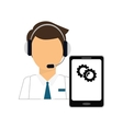 man headphone with smartphone services icon vector image