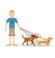 Happy teen walking with dog pet flat vector image