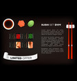 background with set of different sushi vector image