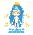 Boy takes a shower color drawing vector image