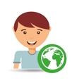happy boy globe environment sign vector image